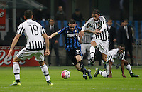 Calcio, Serie A: Inter vs Juventus. Milano, stadio San Siro, 18 ottobre 2015. <br /> FC Inter's Marcelo Brozovic, second from left, is challenged by Juventus&rsquo; Claudio Marchisio during the Italian Serie A football match between FC Inter and Juventus, at Milan's San Siro stadium, 18 October 2015. The game ended 0-0.<br /> UPDATE IMAGES PRESS/Isabella Bonotto
