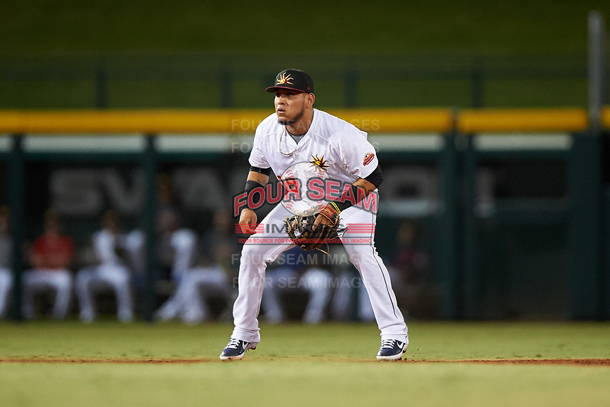 Mesa Solar Sox third baseman Isaac Paredes (18), of the Detroit Tigers organization, during an Arizona Fall League game against the Peoria Javelinas on September 21, 2019 at Sloan Park in Mesa, Arizona. Mesa defeated Peoria 4-1. (Zachary Lucy/Four Seam Images)