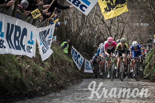 Matteo Trentin (ITA/Scott Mitchelton) with Sep Vanmarcke (BEL/Drapac Cannondale) and Philippe Gilbert (BEL/Quick Step Floors) leads the peloton up the Koppenberg. <br /> <br /> 102nd Ronde van Vlaanderen 2018<br /> 1day race: Antwerp › Oudenaarde - BEL (265k)