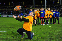 Half-time entertainment from Jaffa Fruit. Aviva Premiership match, between Bath Rugby and Saracens on April 1, 2016 at the Recreation Ground in Bath, England. Photo by: Patrick Khachfe / Onside Images
