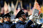 November 7, 2009:  Air Force Academy Drum & Bugle Corps in a salute to the flag during halftime of the annual battle between the Army Black Knights and the Air Force Falcons at Falcon Stadium, U.S. Air Force Academy, Colorado Springs, CO.  Air Force defeats Army 35-7.