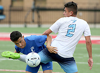 NWA Democrat-Gazette/DAVID GOTTSCHALK  Springdale Har-Ber Wildcats' Selvin Umana fights with Conway Wampus Cats' Ulises Fernandez during play at the 7A 2017 State Soccer Tournament at Mayo-Thompson Stadium at Fort Smith Northside High School. Springdale Har-Ber won 2-0.