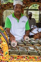 Jatiluwih, Bali, Indonesia.  Metallophone (Jegogan) Player in a Gamelan Orchestra,  Luhur Bhujangga Waisnawa Hindu Temple.