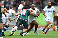 Beno Obano of Bath Rugby takes on the Leicester Tigers defence. Aviva Premiership match, between Leicester Tigers and Bath Rugby on September 3, 2017 at Welford Road in Leicester, England. Photo by: Patrick Khachfe / Onside Images