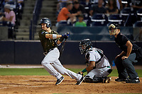 Tampa Tarpons Diego Castillo (2) at bat in front of catcher Hendrik Clementina (24) and umpire Dillon Wilson during a Florida State League game against the Daytona Tortugas on May 18, 2019 at George M. Steinbrenner Field in Tampa, Florida.  Daytona defeated Tampa 7-6.  (Mike Janes/Four Seam Images)