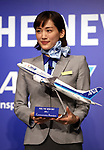 February 19, 2018, Tokyo, Japan - Japanese actress Haruka Ayase in uniform of All Nippon Airways (ANA) cabin attendant attends a promotional event for ANA's free Wi-Fi service in Tokyo on Monday, February 19, 2018. Ayase was named as ANA's new CA, communication attendant by ANA president Yuji Hirako.    (Photo by Yoshio Tsunoda/AFLO) LWX -ytd-