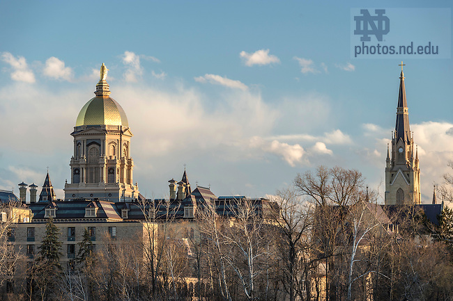 March 17, 2016; The Golden Dome atop the Main Building and the Basilica of the Sacred Heart steeple. (Photo by Barbara Johnston/University of Notre Dame)