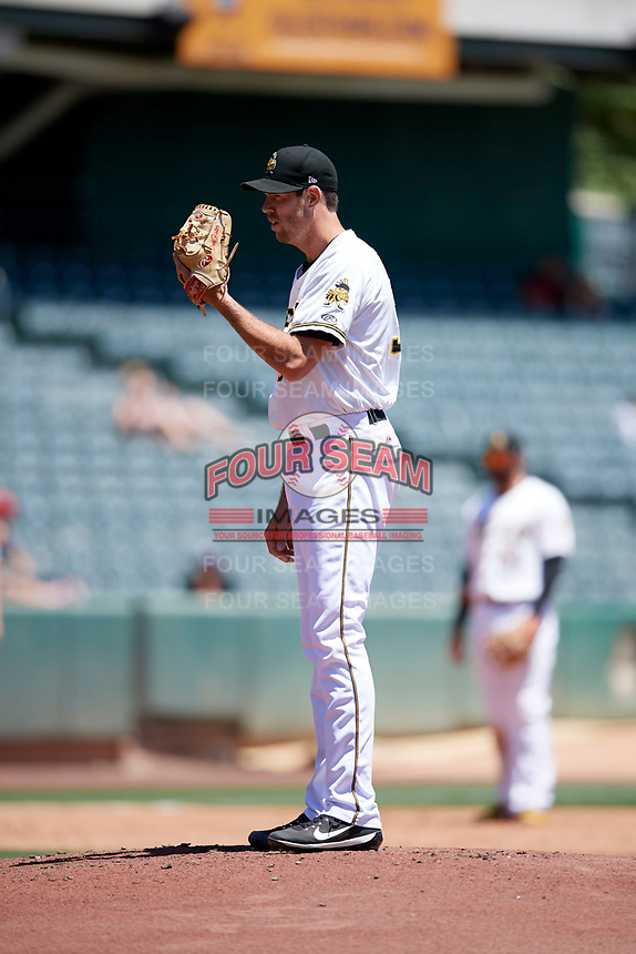 Salt Lake Bees starting pitcher Doug Fister (38) looks for the sign against the Albuquerque Isotopes in Pacific Coast League action at Smith's Ballpark on June 11, 2017 in Salt Lake City, Utah. The Bees defeated the Isotopes 6-5. (Stephen Smith/Four Seam Images)