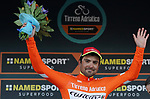 Jacopo Mosca (ITA) Wilier Triestina-Selle Italia retains the Maglia Arancione at the end of Stage 6 of the 53rd edition of the Tirreno-Adriatico 2018 running 153km from Numana to Fano, Italy. 12th March 2018.<br /> Picture: LaPresse/Spada | Cyclefile<br /> <br /> <br /> All photos usage must carry mandatory copyright credit (&copy; Cyclefile | LaPresse/Spada)