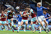1st October 2017, Goodison Park, Liverpool, England; EPL Premier League Football, Everton versus Burnley; Matthew Lowton of Burnley heads clear in the Burnley six yard box