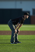 Base umpire Tom Hanahan handles the calls on the bases during the Carolina League game between the Frederick Keys and the Buies Creek Astros at Jim Perry Stadium on April 28, 2018 in Buies Creek, North Carolina. The Astros defeated the Keys 9-4.  (Brian Westerholt/Four Seam Images)