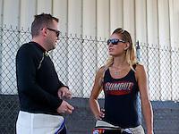 May 17, 2015; Commerce, GA, USA; NHRA top fuel driver Richie Crampton (left) with Leah Pritchett during the Southern Nationals at Atlanta Dragway. Mandatory Credit: Mark J. Rebilas-USA TODAY Sports