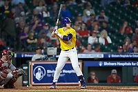 Saul Garza (13) of the LSU Tigers at bat against the Oklahoma Sooners in game seven of the 2020 Shriners Hospitals for Children College Classic at Minute Maid Park on March 1, 2020 in Houston, Texas. The Sooners defeated the Tigers 1-0. (Brian Westerholt/Four Seam Images)