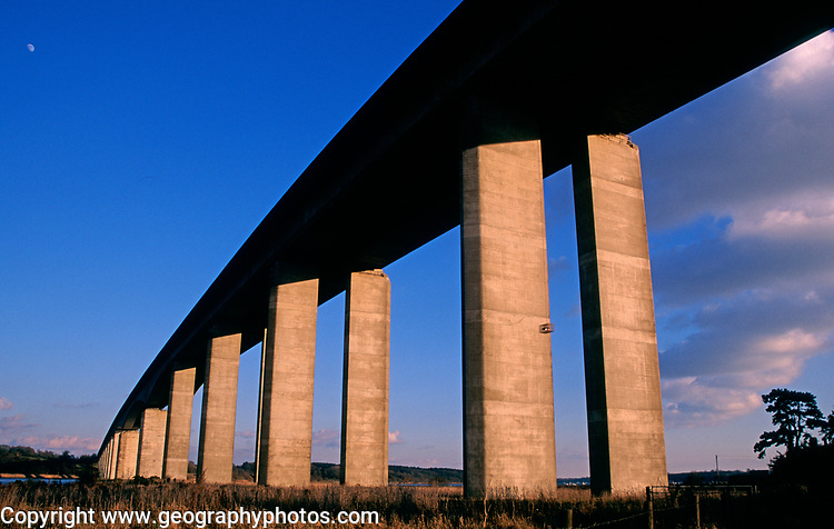 A753WB Orwell bridge concrete support columns Suffolk England