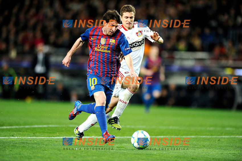 Lionel Messi (Barcelona) Lars Bender (Bayer).07/03/2012 Barcellona.UEFA Champions League.Barcelona vs Bayer Leverkusen.photo Insidefoto / Paco Largo / Panoramic .Italy Only