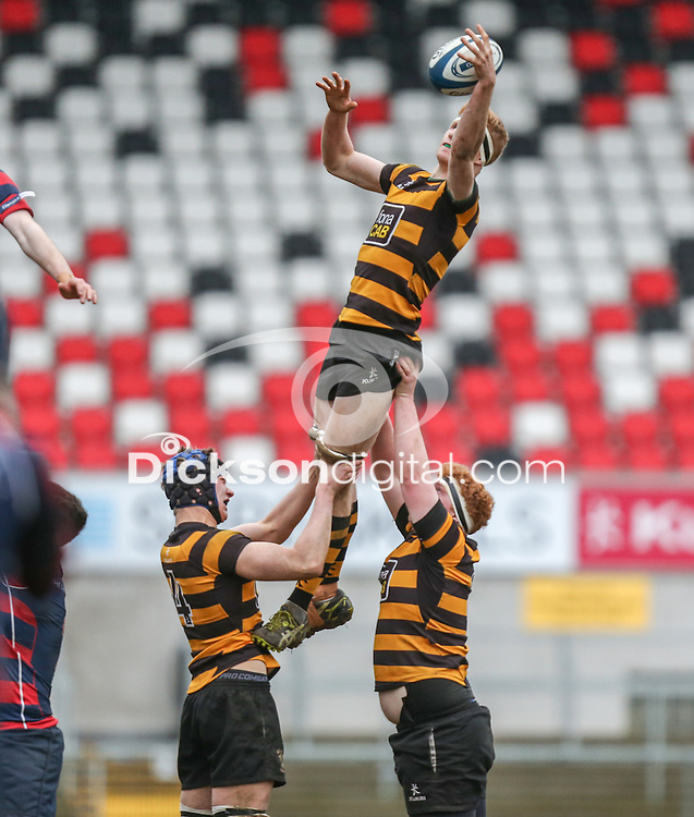 ULSTER SCHOOLS CUP SEMI-FINAL | Monday 29th February 2016<br /> <br /> Charlie Fryers<br /> Match action Ulster Schools Cup semi-final between RBAI and Ballymena Academy at Kingspan Stadium, Ravenhill Park, Belfast. Photo credit: John Dickson / DICKSONDIGITAL