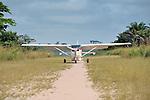 Mission airplane landing.