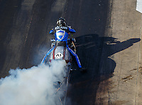 Jun 17, 2016; Bristol, TN, USA; NHRA top fuel Harley motorcycle rider Mike Beland during qualifying for the Thunder Valley Nationals at Bristol Dragway. Mandatory Credit: Mark J. Rebilas-USA TODAY Sports