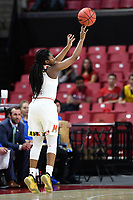 College Park, MD - March 25, 2019: Maryland Terrapins guard Channise Lewis (3) hits a three pointer during second round game of NCAAW Tournament between UCLA and Maryland at Xfinity Center in College Park, MD. UCLA advanced to the Sweet 16 defeating Maryland 85-80.(Photo by Phil Peters/Media Images International)