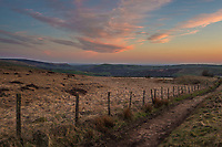 Sunset on Marsden moor towards Brun Clough Reservoir and Saddleworth, Greater Manchester.