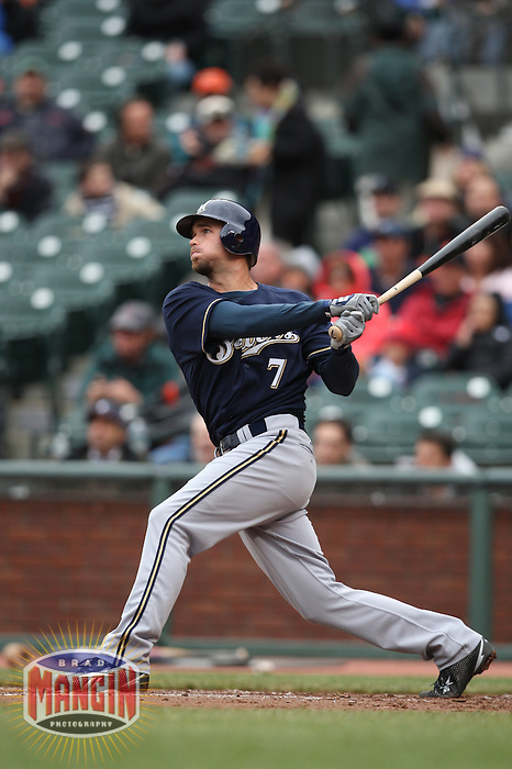 SAN FRANCISCO - APRIL 9:  J.J. Hardy of the Milwaukee Brewers bats against the San Francisco Giants during the game at AT&T Park on April 9, 2009 in San Francisco, California. Photo by Brad Mangin