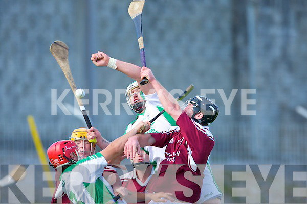 AIB COUNTY SENIOR HURLING CHAMPIONSHIP SEMI-FINAL CAUSEWAY 1-11 BALLYDUFF 0-06.Causeway v Ballyduff at Austin Stack Park on Sunday.COLLISION TIME: Ballyduff's.Mikey Boyle rises above.Causeway's Cormac Flynn in.search of the sliotar.
