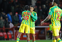 Romaine Sawyers of West Bromwich Albion and Jake Livermore of West Bromwich Albion embrace after the 2-2 draw during Charlton Athletic vs West Bromwich Albion, Sky Bet EFL Championship Football at The Valley on 11th January 2020