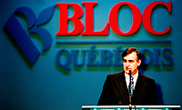 ID :  pr_95-04-07-G 17.jpg<br /> <br /> D&amp;K :  Montreal, April 7, 1995 File Photo.<br /> (At that time) Leader of the Bloc Quebecois ; Lucien Bouchard giving the opening speech at the Bloc Quebecois convention  in Montreal on April 7, 1995. <br /> The Bloc Quebecois is the Federal party promoting Quebec's independance at the House of Commons in Ottawa (Canada). It's actual leader is Gilles Duceppe.<br /> Lucien Bouchard is now (april 2000)   leader of the Parti Quebecois and also  Premier of Quebec Province.).<br /> <br /> Phoo by Pierre Roussel,(c)  1995