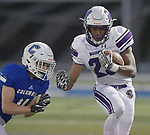 Mascoutah's Devin Wills (right) runs the ball as Columbia's Will Denny comes in for the tackle. Columbia played Mascoutah on Saturday August 31, 2019 in a football game that was never started on Friday night due to bad storms.<br /> Tim Vizer/Special to STLhighschoolsports.com