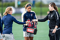 Boston, MA - Sunday May 07, 2017: Jessica McDonald prior to warmups before a regular season National Women's Soccer League (NWSL) match between the Boston Breakers and the North Carolina Courage at Jordan Field.