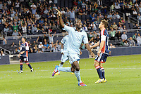 C J Sapong Sporting KC forward celebrates his goal... Sporting Kansas City defeated New England Revolution 3-0 at LIVESTRONG Sporting Park, Kansas City, Kansas.