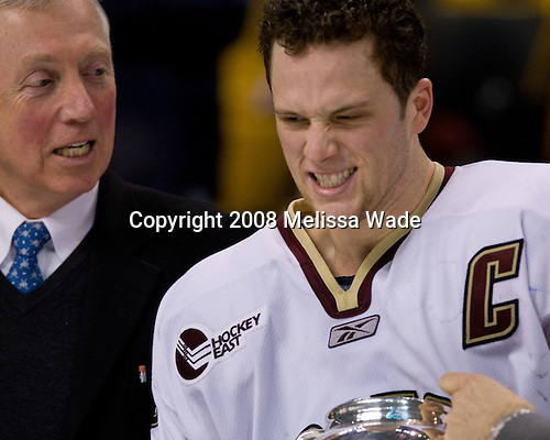 Jerry York (BC Head Coach), Mike Brennan (BC 4) - The Boston College Eagles defeated the Harvard University Crimson 6-5 in overtime on Monday, February 11, 2008, to win the 2008 Beanpot at the TD Banknorth Garden in Boston, Massachusetts.