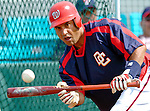 11 March 2006: Wiki Gonzalez, catcher for the Washington Nationals, practices bunting prior to a Spring Training game against the Los Angeles Dodgers. The Nationals defeated the Dodgers 2-1 in 10 innings at Space Coast Stadium, in Viera, Florida...Mandatory Photo Credit: Ed Wolfstein.