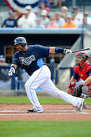 Tampa Bay Rays catcher Jose Molina #28 during a Grapefruit League Spring Training game against the Boston Red Sox at Charlotte County Sports Park on February 25, 2013 in Port Charlotte, Florida.  Tampa Bay defeated Boston 6-3.  (Mike Janes/Four Seam Images)