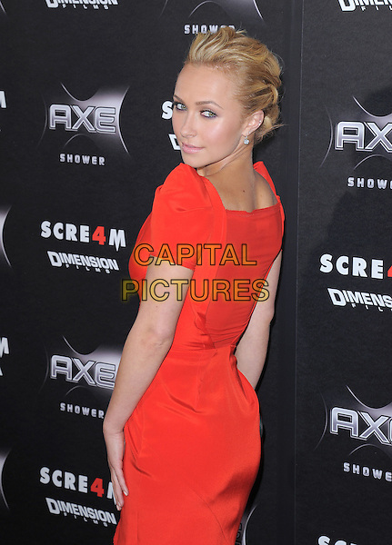 HAYDEN PANETTIERE .at the Weinstein World Premiere of 'Scream 4' held at The Grauman's Chinese Theatre in Hollywood, California, USa, April 11th 2011..half length dress back over shoulder rear behind red .CAP/RKE/DVS.©DVS/RockinExposures/Capital Pictures.