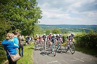 peloton up the top of Cote de la Redoute (max 14%) <br /> <br /> Ster ZLM Tour 2014<br /> stage 4: Hotel Verviers - La Gileppe (187km)