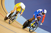 06 AUG 2012 - LONDON, GBR - Gregory Bauge (FRA) (right) of France leads Shane Perkins (AUS) (left) of Australia during their Individual Sprint semi final second race at the London 2012 Olympic Games track cycling at the Olympic Park Velodrome in Stratford, London, Great Britain (PHOTO (C) 2012 NIGEL FARROW)