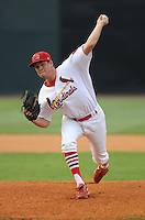 Pitcher Nick Gillung (40) of the Johnson City Cardinals, Appalachian League affiliate of the St. Louis Cardinals, in a game against the Danville Braves on August 19, 2011, at Howard Johnson Field in Johnson City, Tennessee. Danville defeated Johnson City, 5-4, in 16 innings. (Tom Priddy/Four Seam Images)