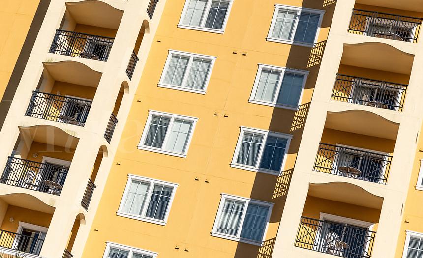 Apartment building detail, Orlando, Florida, USA.