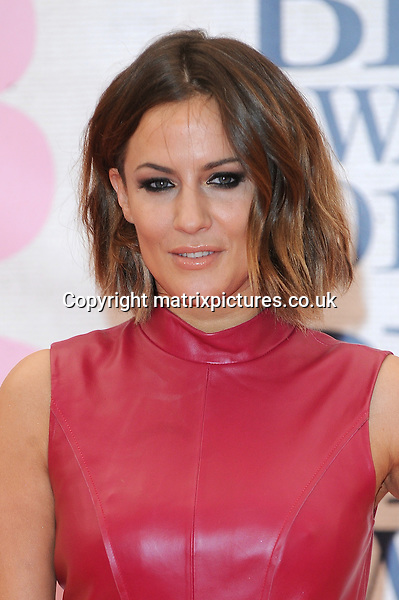 NON EXCLUSIVE PICTURE: PAUL TREADWAY / MATRIXPICTURES.CO.UK<br /> PLEASE CREDIT ALL USES<br /> <br /> WORLD RIGHTS<br /> <br /> English television presenter Caroline Flack attending the BRIT Awards 2015 at the O2 Arena, in London.<br /> <br /> FEBRUARY 25th 2015<br /> <br /> REF: PTY 15627