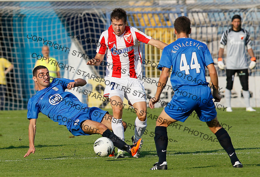 Fudbal, Jelen super liga, sezona 2011/12.Smederevo Vs. Crvena Zvezda.Slavisa Stojanovic, left Milos Dimitrijevic, center and Stevan Kovacevic, right.Smederevo, 28.08.2011..foto: Srdjan Stevanovic/Starsportphoto ©