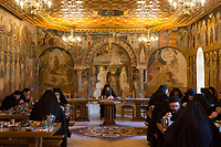 Mount Athos - The Holy Mountain.<br /> Monks eat in silence in the refectory of Pantokratoros.