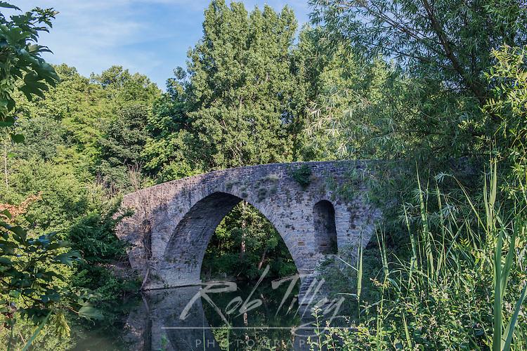 Spain, Pamplona, Magdelena Bridge on the Camino de Santiago Over the Rio Arga
