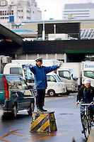 Japanese Traffic Policeman at the Tsukiji Fish Market
