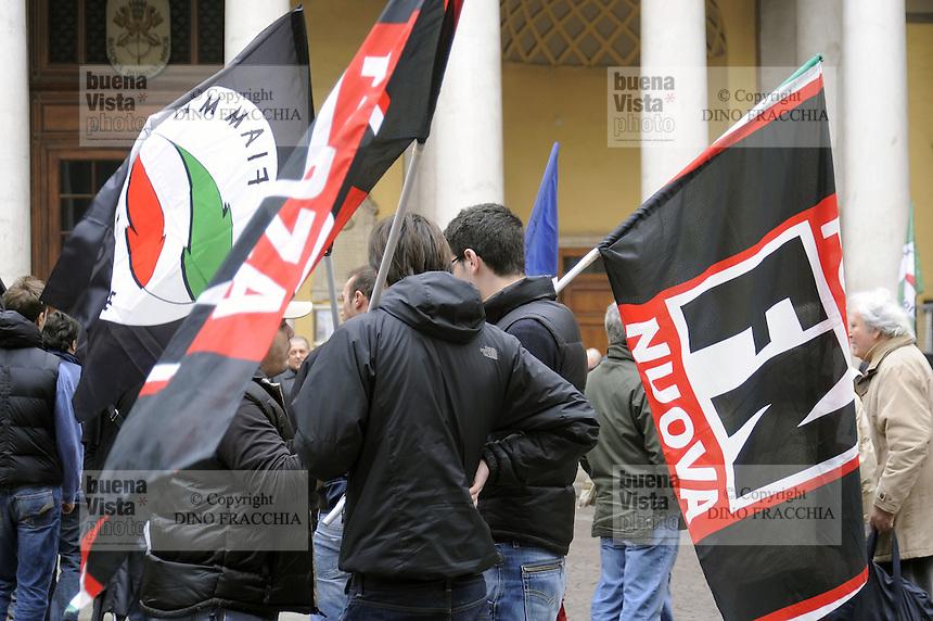 - Milan, demonstration of the neonazi groups &quot;Forza Nuova&quot; and &quot;Fiamma Tricolore&quot;<br /> <br /> - Milano, manifestazione dei gruppi neonazisti  &quot;Forza Nuova&quot; e Fiamma Tricolore&quot;