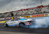 Feb 10, 2017; Pomona, CA, USA; NHRA pro stock driver Tanner Gray does a burnout during qualifying for the Winternationals at Auto Club Raceway at Pomona. Mandatory Credit: Mark J. Rebilas-USA TODAY Sports