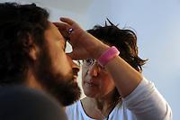 Lavoratori dello spettacolo durante la riprese di Casa Coop.Workers in the entertainment during the filming of House Coop.Rudia Cascione. Truccatrice.make-up artist..CASA COOP è una sit-com, prodotta dalla Coop, sulla vita quotidiana di persone di varia umanità, ambientata in un condominio. Gli episodi saranno diffusi via internet.HOUSE COOP is a sit-com produced by the Coop, about daily life of people with different  humanity , that live in a condominium. Episodes will be disseminated by Internet. ...