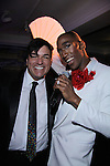 Tony Award Winner Dale Badway poses with Broadway's Anthony Wayne stars in Pippin The Musical and performs at The Times Square Broadway Royale on New Years Eve 2014 at the legendary Copacabana, New York City, New York. (Photo by Sue Coflin/Max Photos)