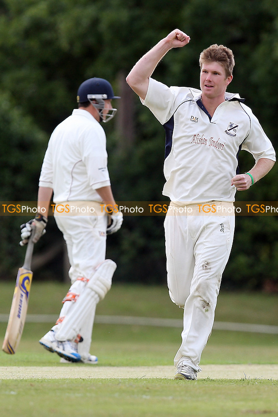 Jimmy Neesham of Upminster celebrates the wicket of Rahul Bhome - Fives & Heronians CC vs Upminster CC - Essex Cricket League - 11/06/11 - MANDATORY CREDIT: Gavin Ellis/TGSPHOTO - Self billing applies where appropriate - Tel: 0845 094 6026