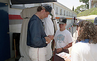 Boston Red Sox Frank Viola signs autographs during Spring Training circa 1992 at Chain of Lakes Park in Winter Haven, Florida.  (MJA/Four Seam Images)